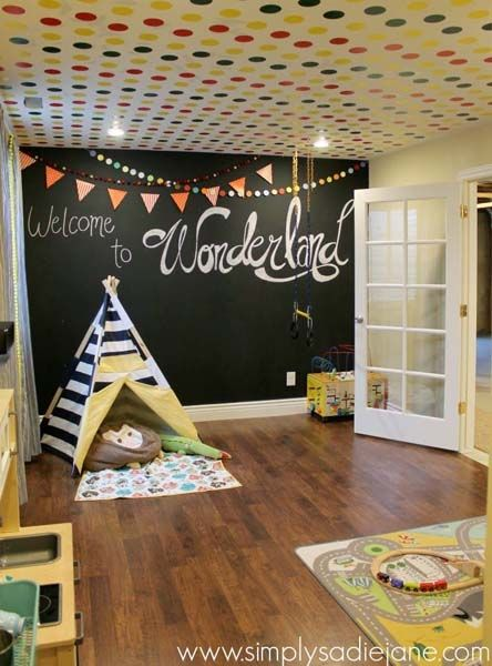 teepee and chalkboard wall