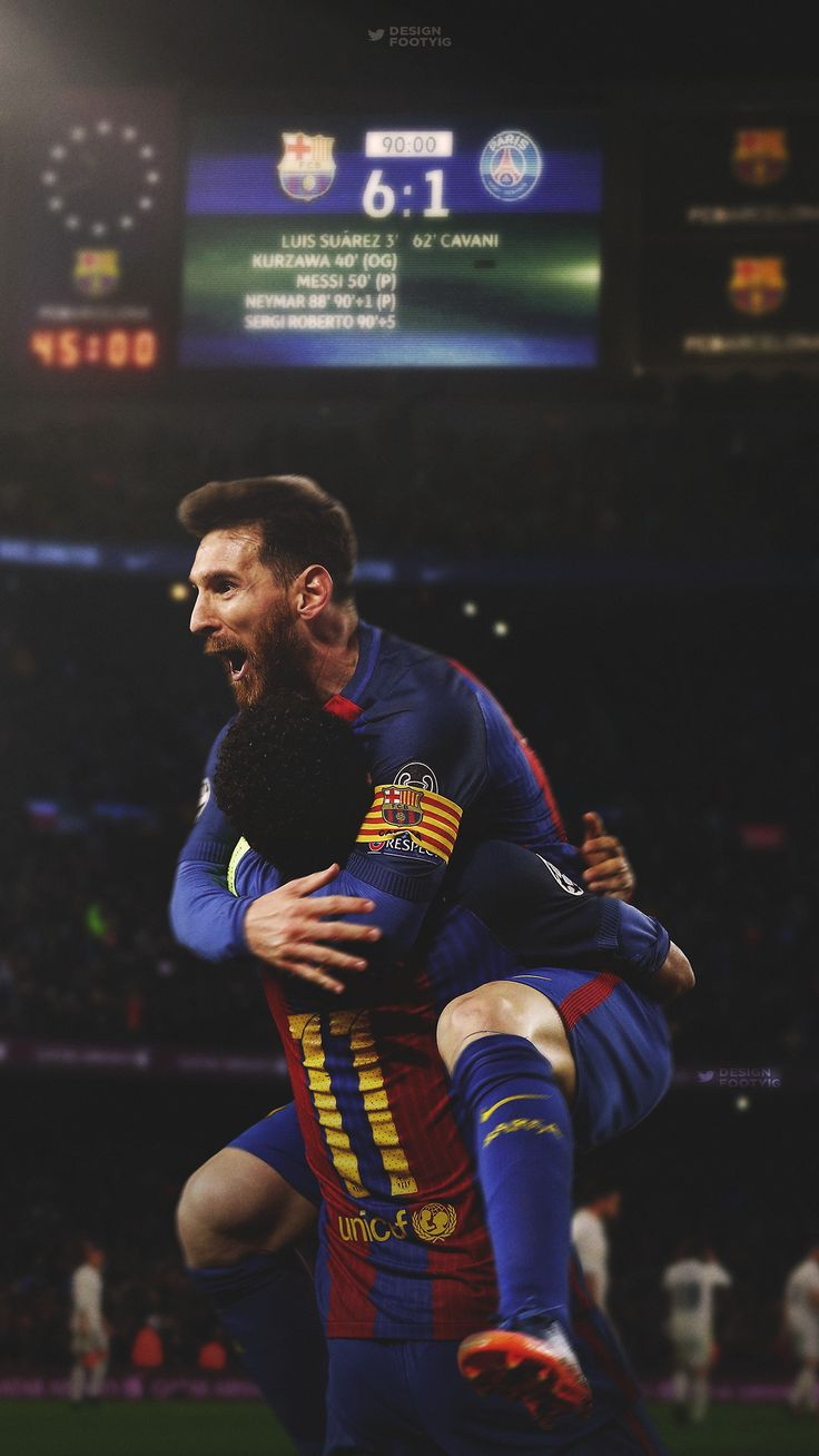 DESIGNDANIEL Lionel Messi and Neymar celebrate the impossible comeback by Barcelona FC against PSG in the champions league. Beautiful edit by DesignDaniel on tumblr.