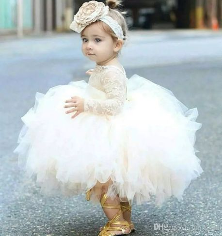 2018 Vintage Lovely Ivory Baby Infant Toddler Baptism Clothes Flower Girl Dresses With Long Sleeves Lace Sheer Neck Tutu Ball Gowns Cheap