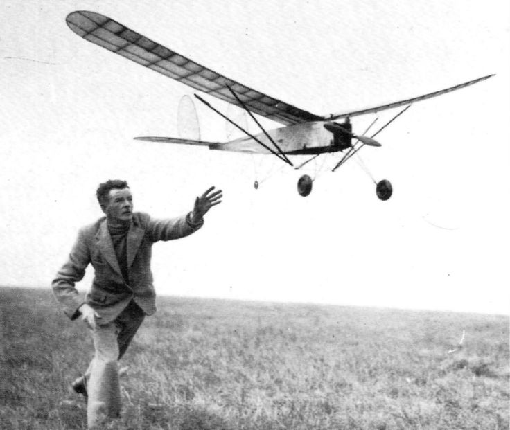 Mr.F. Lowe with his Brown Jr. powered petrol model (converted from a compressed air model)  at the first meeting of the Nottingham & District Model Aero Club at Tollerton Aerodrome in 1937.