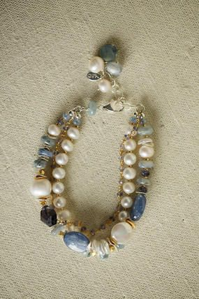 Unique handmade gemstone pearl multi strand bracelet for women is a perfect addition to your designer jewelry collection