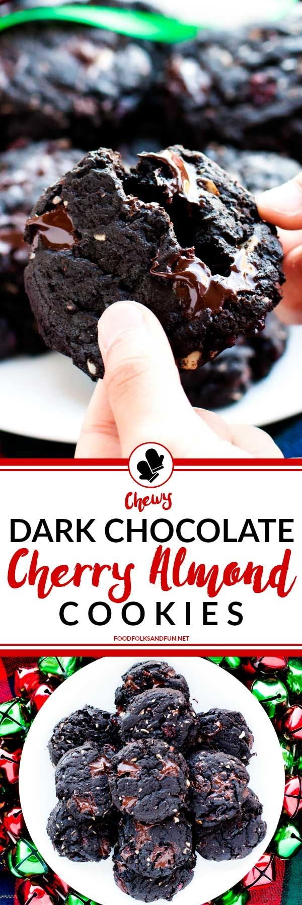 These Dark Chocolate Cherry Cookies with Almonds are chewy, fudgy, and ...