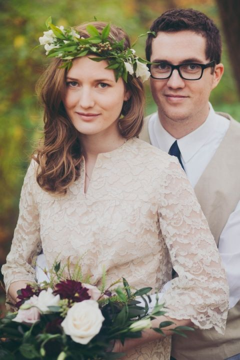 Neutral Vintage Wedding Attire | Mintwood Photo Co. | A Forest Fairy Tale Anniversary Shoot with a Bohemian Picnic