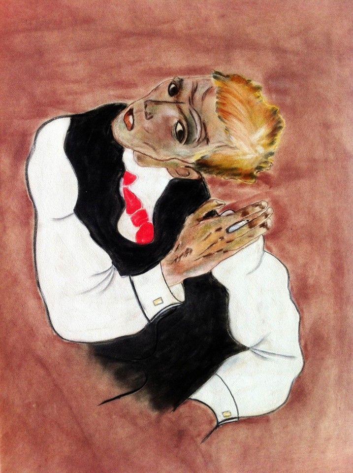 Snapple - Thin White Schiele, 2013, Pastel on velour-paper, 50 x 35 cm. Based on Egon Schiele, Selbstbildnis mit kariertem Hemd, 1917, Private collection/Privatsammlung. Courtesy of Egbert Baqué Contemporary Art, Berlin.