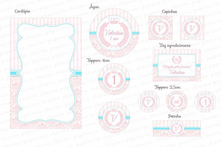 Kit Digital Coroa de Princesa - Realeza - Arabescos Rosa e Tiffany - Charme Papeteria