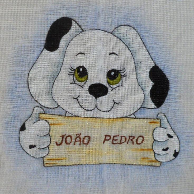 Dálmata | infantil | pintura em tecido com nome | fralda