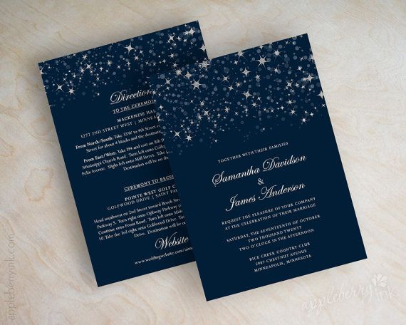 This starry night wedding invitation displays a silvery twinkling starry night theme. It can also depict twinkling lights if you have an evening wedding thats decorated with small white strings of light. The stars have an image of glitter embedded into them. So theres no glitter mess for you or your guests! Your guests are sure to love receiving these star themed wedding invitations! Also, if navy blue and silver are not your wedding colors, thats ok! We can change the colors for you for…