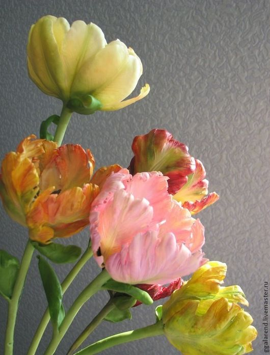 Flowers handmade. Livemaster - handmade. Buy Tulips 'Colors' of polymer clay.Tulips, lifelike floristry, home decor