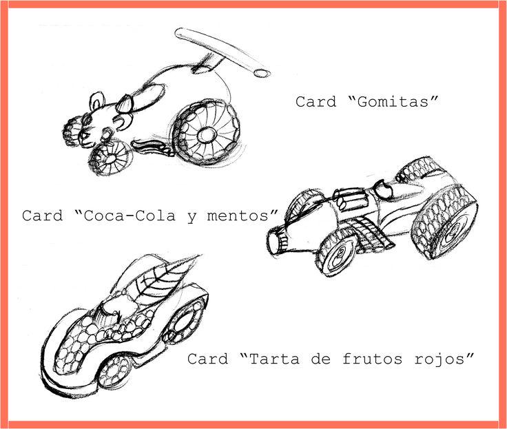 """Diseño de autos inspirados en el juego """"sugar rush"""" de Ralph el demoledor."""