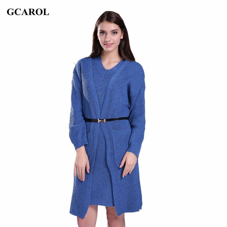 Women Korean Two Pieces Dress And Cardigan Suit Oversized Knitted DressCardigan With Belt OL Fashion Oversized Long Cardigan