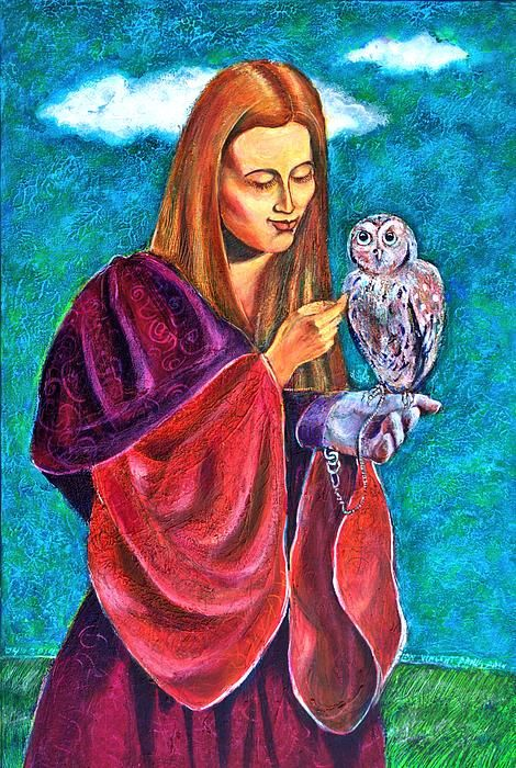 The portrait of a beautiful Renaissance young woman and her tamed owl. This is a painting I made after a photo I've captured during a Medieval Festival in my native town of Sibiu, Transylvania, in the summer of 2013.