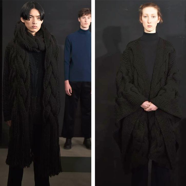 "Our AW17 collection at London Fashion Week Men's (Jan 2017) featuring hand knitted pieces from our ""Black Sheep"" range. Made from British black sheeps fleece, each piece took over 100 hours to create."