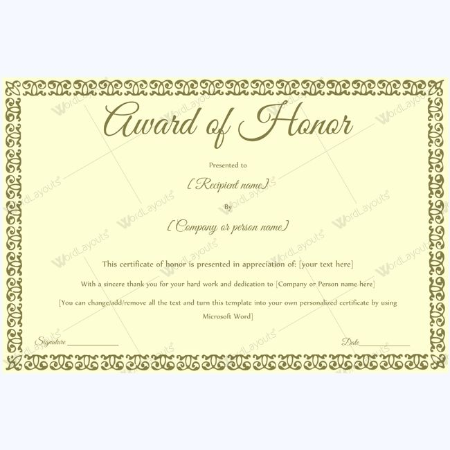 15 best award of honor certificate templates images on Pinterest - Certificate Word Template