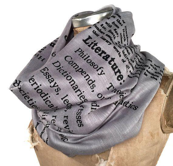 Book Scarf. Literary scarf. Dewey Decimal Literature library classification. Silkscreened linen weave pashmina. Choose silver, black & more.