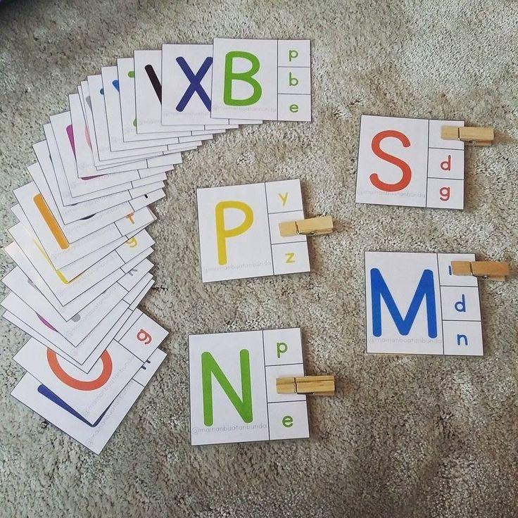 Carte de reconnaissance de lalphabet en deux écritures Carte alphabet Source : Son instagram : justbemealways
