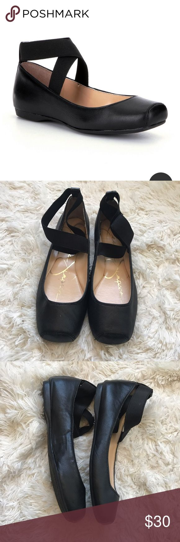 """Jessica Simpson • ballet flats • 7 Leather upper , elastic cross cross,rubber out sole , heel .04"""" . Jessica Simpson Shoes Flats & Loafers"""