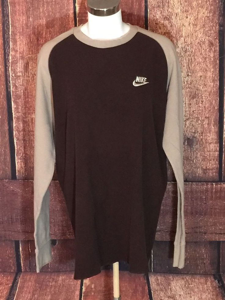 Nike Shirt Thermal Brown Long Sleeve Cotton Crewneck Pullover Size Large (BB16)  | eBay