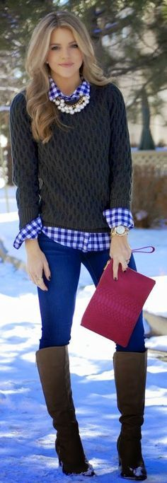 love the preppy layers with the glam necklace!