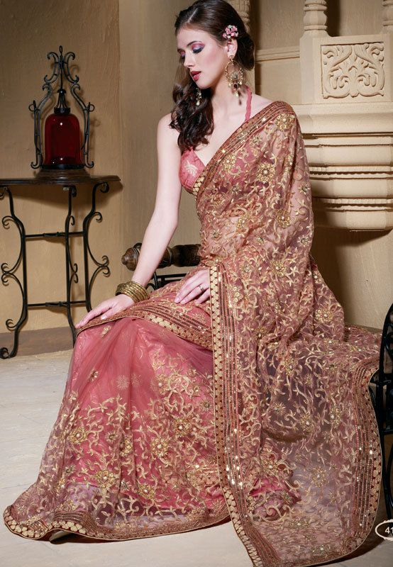 Peach Colored Net Sari with Light Gold Embroidery by SassySaris, $160.00