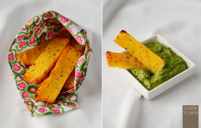 Skinny Girls Healthy Baked Polenta Chips with Chilli Salsa Verde...YUM!