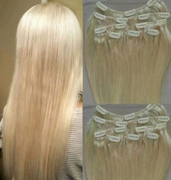 18″ Clip in Hair Extensions Real Human Hair 80g Clip on for Full Head 7 pieces, 14 clips, Weft Remy Hair Color # 613 Platinum Blonde