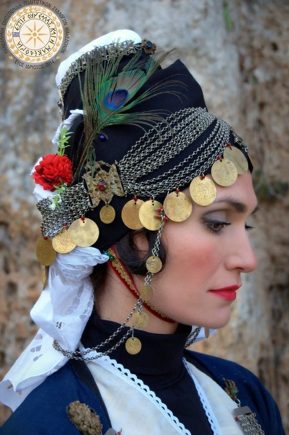 Old style Katsouli Roumlouki headdress from Gidas Imathia, historical #Macedonia, northern #Greece - Pan-Hellenic federation of cultural associations of Macedonians