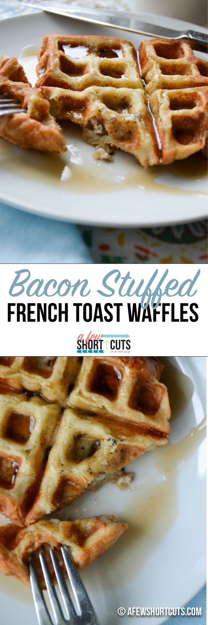 A delicious fast morning breakfast recipe. You must try this Bacon Stuffed French Toast Waffles Recipe.  #raiseyourmitt #familymealsmonth #ad