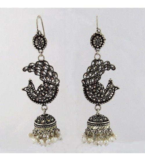 Magnificent Marcasite Pearl, Black CZ 925 Sterling Silver Earring, Weight: 18 g, Stone - Pearl, Black CZ, Size - 8.0 x 2.5 cm, Wholesale Orders Acceptable, All Pieces have 925 Stamp
