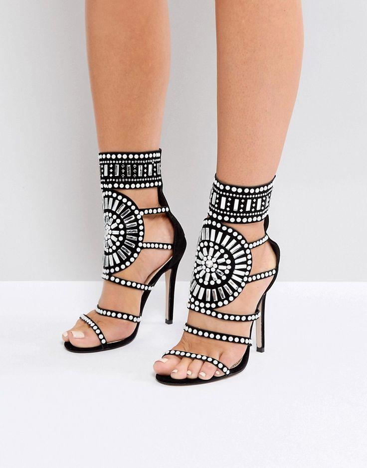 Public Desire Cleopatra Embellished Heeled Sandals - Black