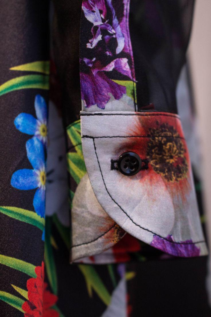 Particolare camicia raso e organza di seta.