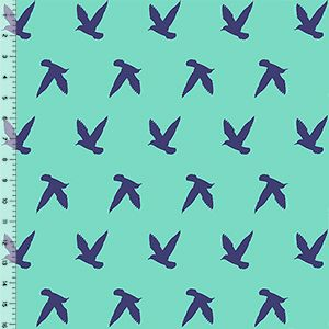 Navy Bird Silhouettes on Ice Green Cotton Jersey Blend Knit Fabric $6.70/yard