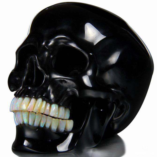 "Stunning work. (via 5.3"" Black Obsidian Carved Crystal Detachable Skull, Opal teeth by Skullis TM)"