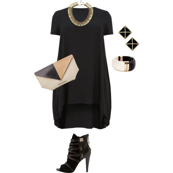 A fashion look from February 2015 featuring black hi lo dress, heeled ankle booties and evening clutches. Browse and shop related looks.