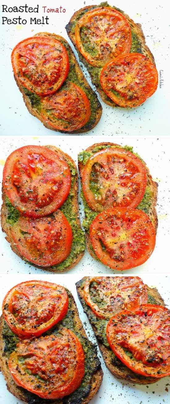 Open-Face Roasted Tomato Sandwich - basil, bread, cheese, healthy, recipes, sandwich, spinach, tomato