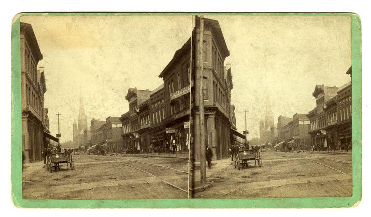 ATLANTA PHOTOGRAPHERS - STEREOVIEW OF A VIEW OF PEACHTREE STREET IN ATLANTA TAKEN BY M.M. & W.H. GARDNER, CIRCA 1880