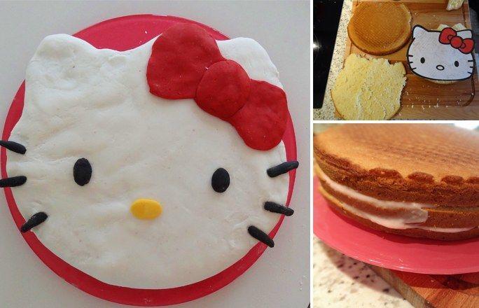 Hello Kitty Kuchen: Deko - Hello Kitty Kuchen ganz leicht backen - Jetzt geht's ans Zusammenstellen der Kuchens. Bestreicht den Boden mit der Hälfte der Erdbeercreme, legt dann einen zweiten Boden auf, bestreicht diesen mit der restlichen Creme und legt zum Schluss den Deckel auf...