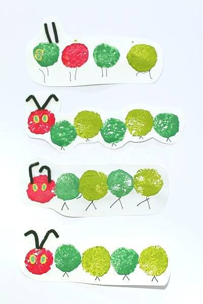 The Very Hungry Caterpillar Craft Using Sponge Painting - Buggy and Buddy