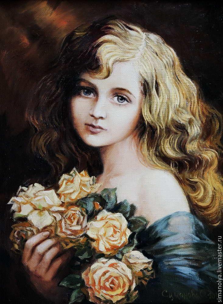 Купить или заказать Девочка с розами в интернет-магазине на Ярмарке Мастеров. Картина в стиле ретро.