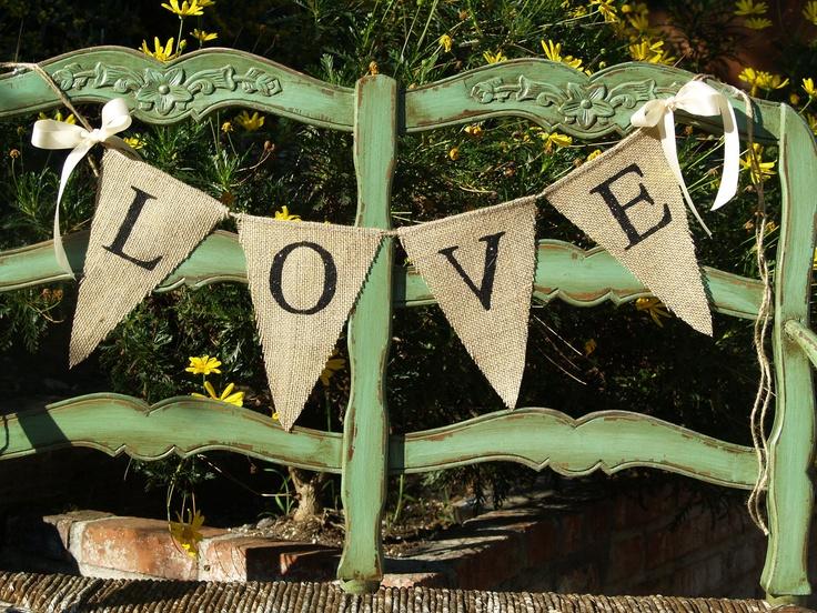 LOVE BURLAP BANNER - burlap banner - Custom Wedding Banner - Photography shoot. $20.00, via Etsy.