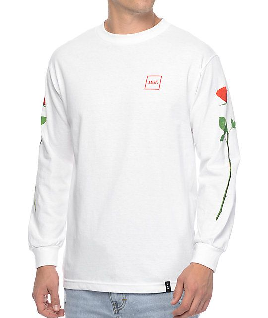 If you are a romantic guy, the roses long sleeve t-shirt from HUF is perfect for you. Show the ladies that you truly wear your heart on your sleeve with long stemmed roses screen printed along both sleeves and a simple HUF brand logo on the left chest. Gr