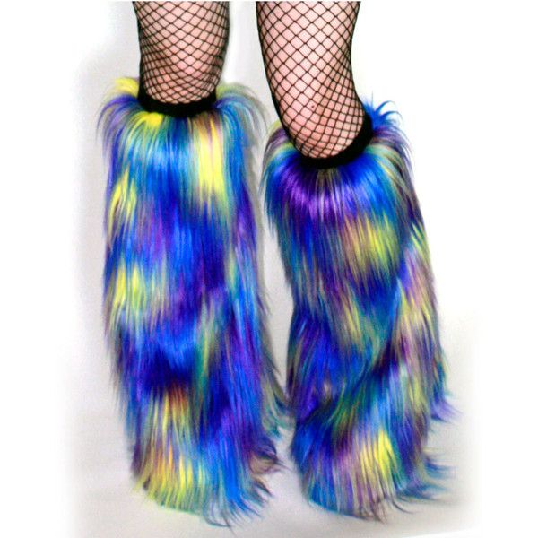 Pre-Made Rave Fluffies Multi-Color Blue Yellow Purple Fuzzy Boot... ($33) ❤ liked on Polyvore featuring grey, hosiery, leg warmers and women's clothing