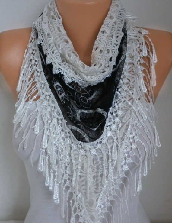 Black & White Lace Scarf  Spring Summer Scarf Shawl by anils