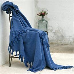 Mavi Taşlanmış Pike Yatak Örtüsü