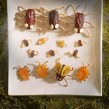 This swarm of edible insects may look too repulsive to eat, but their various parts -- nutritious goodies, such as dates, raisins, banana chips, and apricots -- make them delightfully sweet.                 For each bug, start with a dried fruit body as noted, then add various parts by pushing them into place. If needed, use a toothpick or paring knife to first make small holes or slits.                 Bug-eyed Spider Body: whole date; Legs: chow mein noodles; Eyes: white chocolate chips…