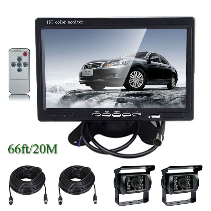"""Ehotchpotch 7"""" TFT LCD Car Rearview Monitor & Backup Camera for Bus Truck Caravan Vehicle, 4 Pin Waterproof CCD IR Camera with Wide View Angle Parking Reverse System, Distance Scale Lines. Waterproof IR camera with wide view angle, 10m length video cable, plug and play, 7"""" High quality ultra-thin monitor, 2 channel video inputs, Easy installation. -Lightweight 16:9 wide angle view 7"""" TFT LCD color monitor with remote controller. Special heatventilation design for longer life of use. Note:..."""