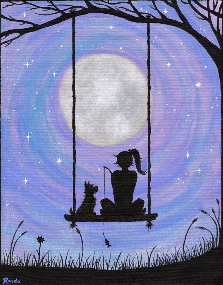 A girl and her Dog  This adorable silhouette of a girl and her Dog sitting on a swing under the full moon is sure to make anyone smile. Shes even got a little fishing pole.  I used five basic colors (black white red blue yellow) blended to create the beautiful pastels. Signed by artist. Only high quality photo prints of this painting are available. Are you shopping for an original painting, custom made for you or a loved one? I AM NOW TAKING ORDERS FOR CUSTOM PAINTINGS Message me for…