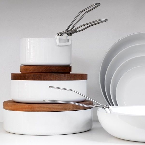 ABCT Pans, 17 Made-in-Italy Kitchen Essentials | Remodelista  Ceramic cookware with clip-on detachable handles, ABCT Pans have an eco-friendly nonstick surface and can be used on the stove and as serving dishes. Thanks to their removable handles, they're easy to store, and they come with mahogany lids that double as hot pads; pans and woks start at €36.30 (US $46.29) at Dep Design Store.