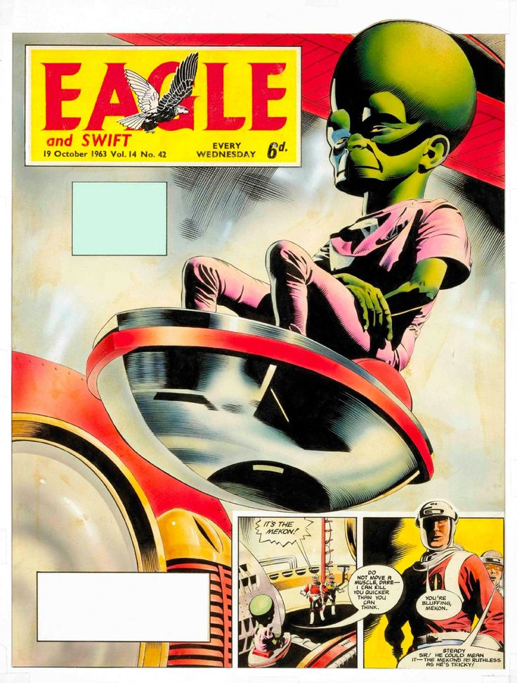 Eagle comic and the Mekon, arch villain to the heroic Dan Dare