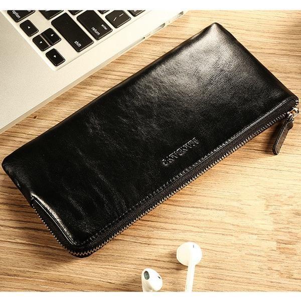 Men Genuine Leather Vintage Long Phone Wallet Zipper Card Holder Check Wallet - US$19.88
