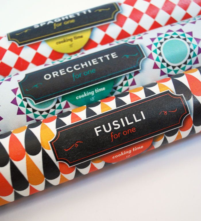 Pasta For One. Brilliant patterned packaging >